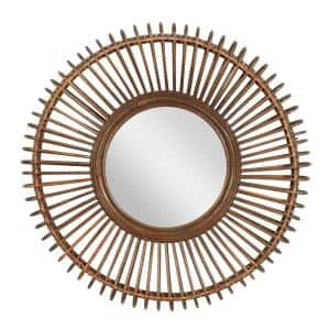 29.63 in. x 29.63 in. Brown Wood Natural Wall Mirror