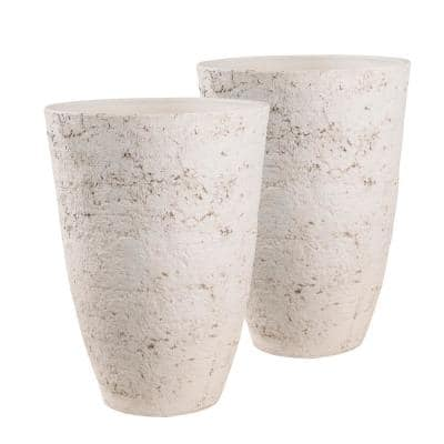 Penfield 27.75 in. Dover White Stone Like Planter Set (2-Pack)