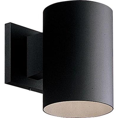 "Cylinder Collection 5"" Black  Modern Outdoor  Wall Lantern Light"