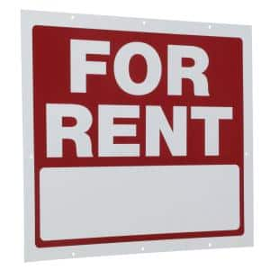 18 in. x 24 in. Red and White Plastic for Rent Sign