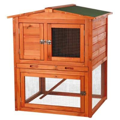2.7 ft. x 2.4 ft. x 3.1 ft. Small Rabbit Enclosure with Peaked Roof Hutch