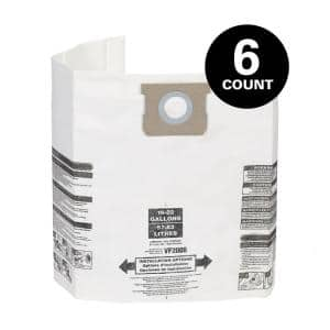 15 Gallon to 22 Gallon Dust Collection Bags for Shop-Vac Branded Wet/Dry Shop Vacuums (6-Pack)