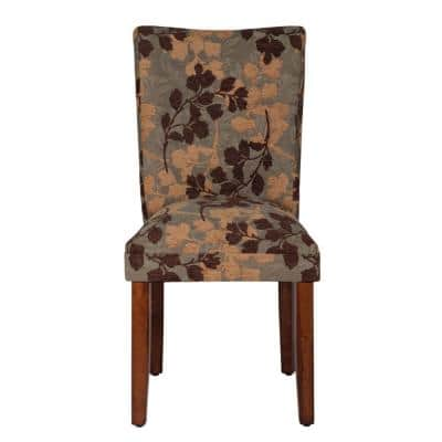 Parsons Textured Sage Floral Chenille Upholstered Dining Chair