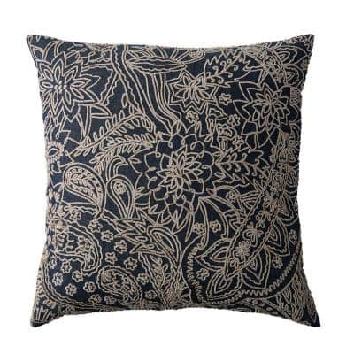 Embroidered Blue Paisley 20 in. x 20 in. Decorative Throw Pillow Cover