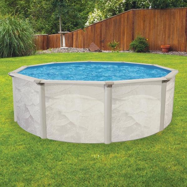 Aquarian Independence 24 Ft Round 52 In D Metal Wall Above Ground Hard Side Swimming Pool Package Purb2452hd5 The Home Depot