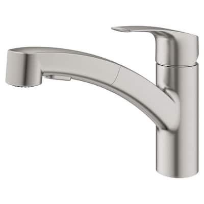 Eurosmart Single-Handle Pull-Out Sprayer Kitchen Faucet in SuperSteel InfinityFinish