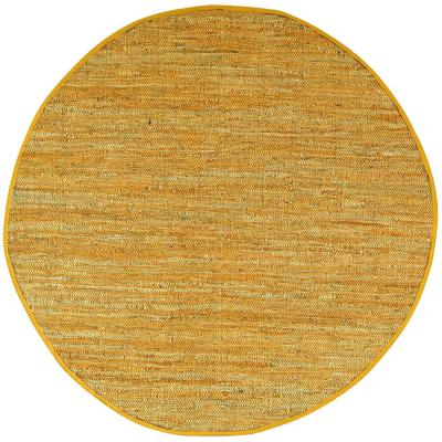 Gold Leather 3 ft. x 3 ft. Round Area Rug