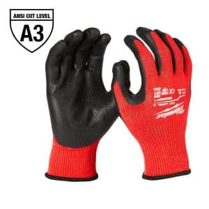 Small Red Nitrile Level 3 Cut Resistant Dipped Work Gloves