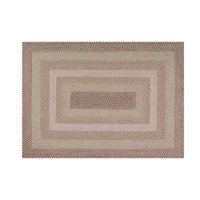 Woodbridge Braid Collection Durable Mildew and Moisture Resistant Reversible Natural 5 ft. x 7 ft. Wool Area Rug