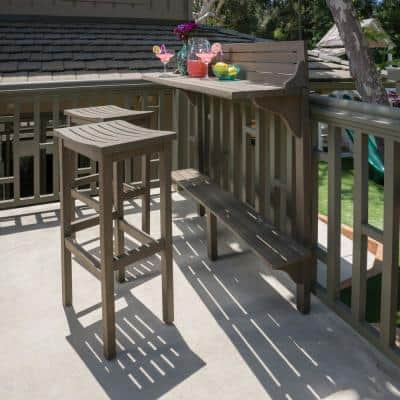 Gray 3-Piece Wood Rectangular Outdoor Balcony Bar Set