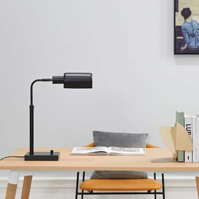 Lucca 18 in. Matte Black Adjustable Height Desk Lamp With 2.1 Amp USB Port