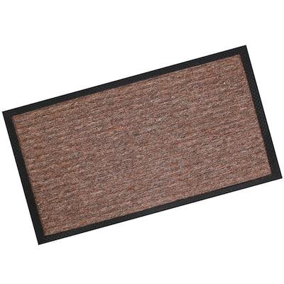 Brown Textured Line Entrance Mat