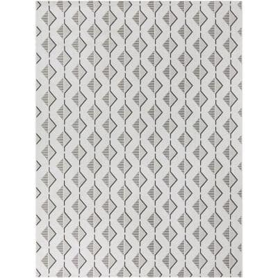 Twisted Rope Ivory 5 ft. x 7 ft. Geometric Indoor/Outdoor Area Rug