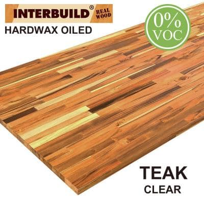 Teak 7 ft. L x 31 in. D x 1 in. T B/C Grade FJ Straight Edge Stain Butcher Block Island Countertop in Clear Oil Stain