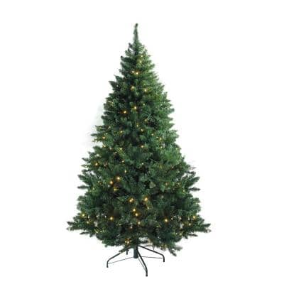 7.5 ft. x 55 in. Pre-Lit Buffalo Fir Medium Artificial Christmas Tree Warm White LED Lights