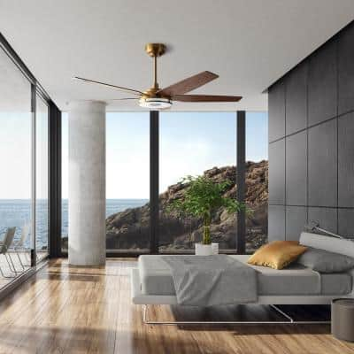 Explorer 56 in. Indoor/Outdoor Gold Smart Ceiling Fan, Dimmable LED Light and Remote, Works with Alexa/Google Home/Siri