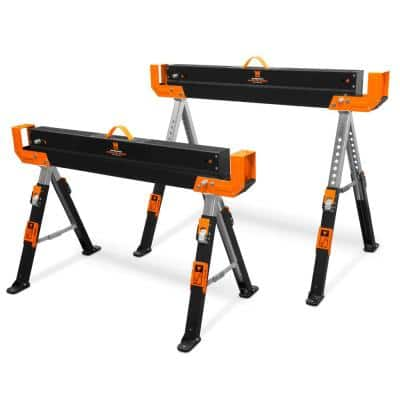 32 in. H 1300 lbs. Capacity Steel Adjustable Folding Sawhorse with 2 x 4 Support Arms (2-Pack)