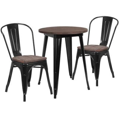 3-Piece Black Table and Chair Set