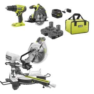 15 Amp 10 in. Sliding Compound Miter Saw and 18V Cordless ONE+ Drill/Driver, Circular Saw Kit