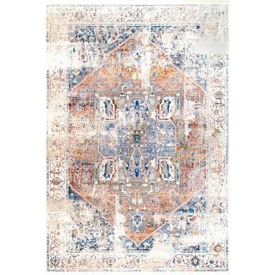 Ethel Medallion Fringe Ivory 9 ft. x 12 ft. Area Rug