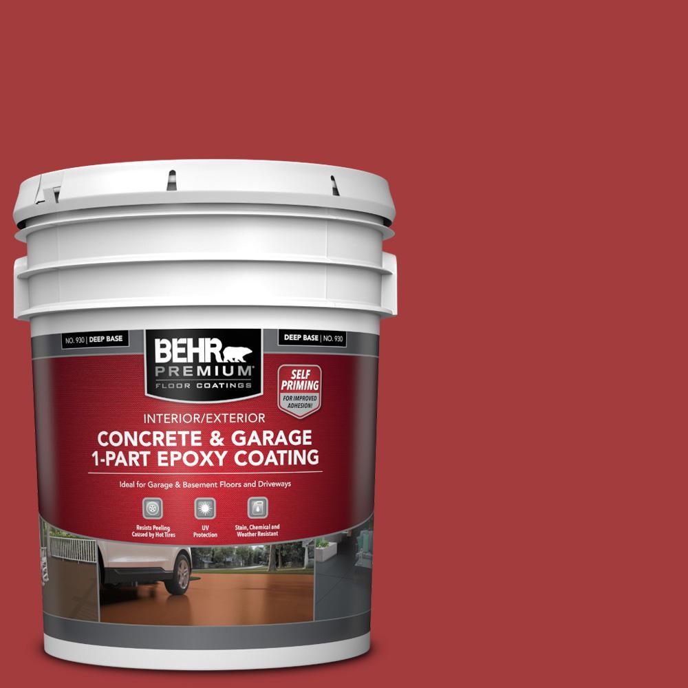 5 gal. #PFC-03 Red Baron Self-Priming 1-Part Epoxy Satin Interior/Exterior Concrete and Garage Floor Paint