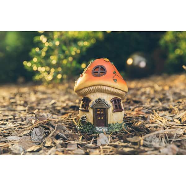 Moonrays Solar Powered Integrated Led Mushroom Gnome House Outdoor Landscape Garden Light 90056sp The Home Depot
