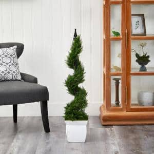 4 ft. Cypress Spiral Topiary Artificial Tree in White Metal Planter
