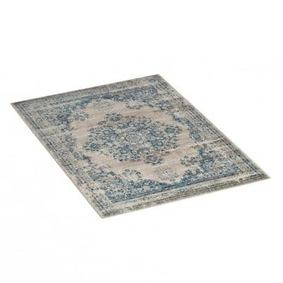 Blue, Gray and Cream 5 ft. x 7 ft. Vintage Medallion Plush Area Rug