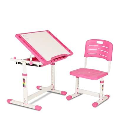 Pink Kids Desk and Chair Set Children Ergonomic Student Study Desk with Tilt Desktop Height Adjustable