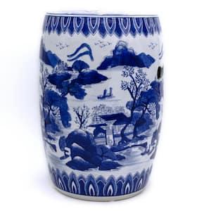 Blue Garden Landscape Ceramic Drum Stool