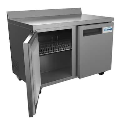 12 cu. ft. Commercial Upright Freezer 2-Door Undercounter with Worktop in Stainless Steel