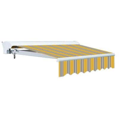12 ft. Luxury L Series Semi-Cassette Manual Retractable Patio Awning (118 in. Projection) in Yellow Gray Stripes