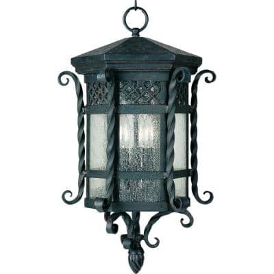 Scottsdale 3-Light Country Forge Outdoor Hanging Lantern