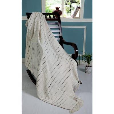 Grayscale Gray / Cream 50 in. x 60 in. Stripe Woven Fringe Decorative Throw Blanket
