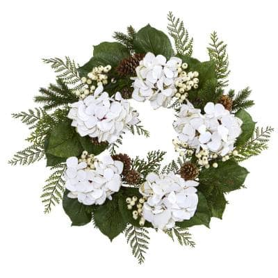 24 in. Gold Trimmed Hydrangea and Berry Wreath