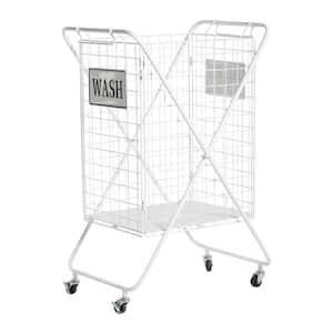 White Metal Farmhouse Storage Basket