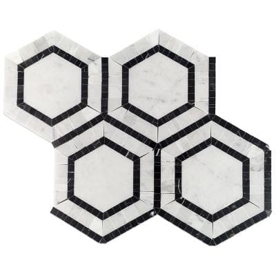 Zeta Carrera 10-3/4 in. x 12-1/4 in. x 10 mm Polished Marble Mosaic Tile