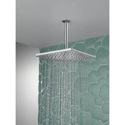 1-Spray 11.8 in. Single Wall Mount Square Fixed Rain Shower Head in Chrome