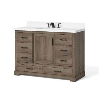 Kendall 48 in. W x 20 in. D Bath Vanity in Distressed Oak with Engineered Stone Vanity Top in White with White Basin