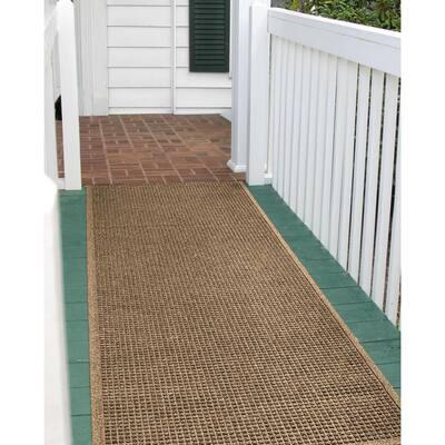 Squares 36 in. x 108 in. PET Polyester Door Mat Camel