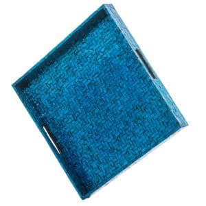17.75 in. L x 17.75 in. W x 2 in. H Blue Wooden Lacquered Basket Weave Square Tray