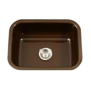 Porcela Series Undermount Porcelain Enamel Steel 23 in. Single Bowl Kitchen Sink in Espresso