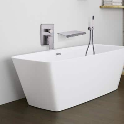Single-Handle 1- -Spray Rectangular Tub and Shower Faucet with 2 GPM in Brushed Nickel (Valve Included)