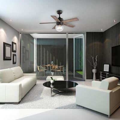 Amelia 42 in. LED Indoor Bronze Downrod Ceiling Fan with Light Kit with Remote Control