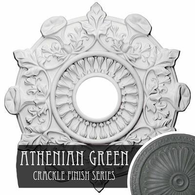 "1"" x 17-1/2"" x 17-1/2"" Polyurethane Preston Ceiling Medallion, Athenian Green Crackle"