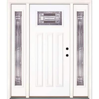 63.5 in. x 81.625 in. Preston Zinc Craftsman Unfinished Smooth Left-Hand Fiberglass Prehung Front Door with Sidelites