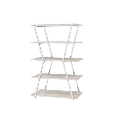 72 in. Chrome Metal 5-shelf Accent Bookcase with Adjustable Shelves