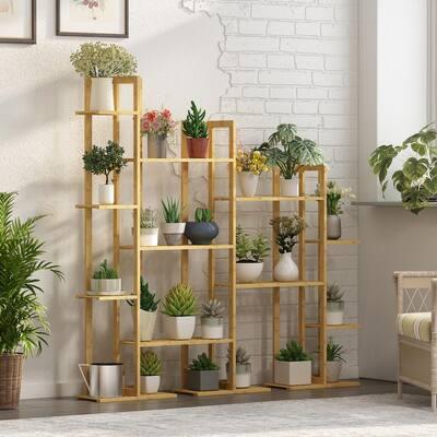 7-Tier Wooden Rack Indoor Outdoor Bamboo Shelf Flower Pot Plant Stand