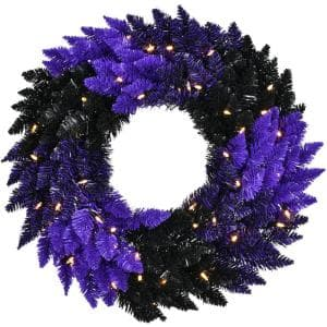 24 in. Pre-Lit Artificial Halloween Wreath with Spooky Purple Tinsel and LED Lights