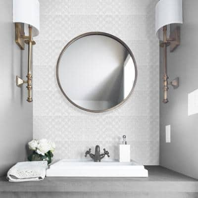 Patch 6 in. x 6 in. Silver Grey Ceramic Decorative Wall Tile (4-pack)